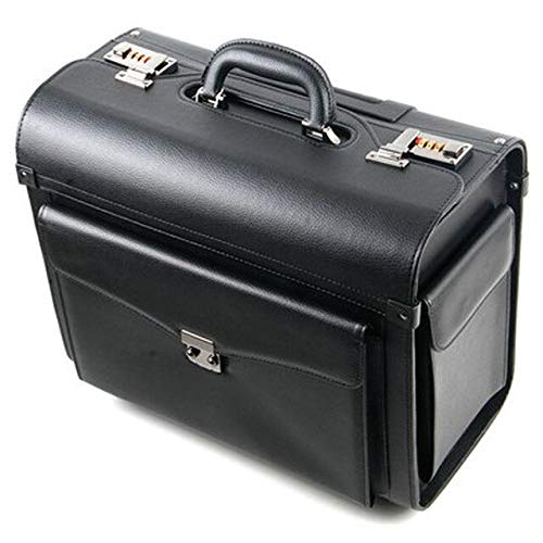 Mdsfe New Retro PU Leather pilot Rolling Luggage Cabin Airline stewardess Travel Bag on Wheel Suitcases Business Trolley Suitcase - Black, 16'