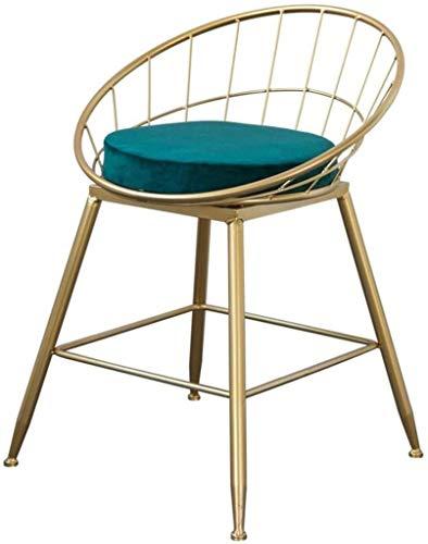 ZfgG barstoolstoel voor de keukenstoel, hoogte 45 cm, hoge kruk van velours, moderne stoel voor horeca | Legs Bar Stool Industrial Metaal | Groen