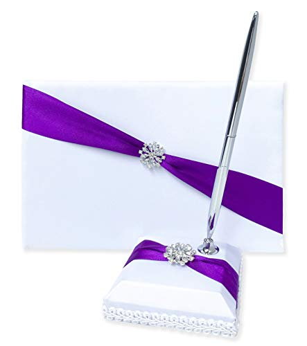 Wedding Guest Book and Pen Set | Guest Book Wedding Set with Lined Pages for Sign in | Glittering Flower Rhinestone & Purple Satin with Royal Touch Guestbook Wedding