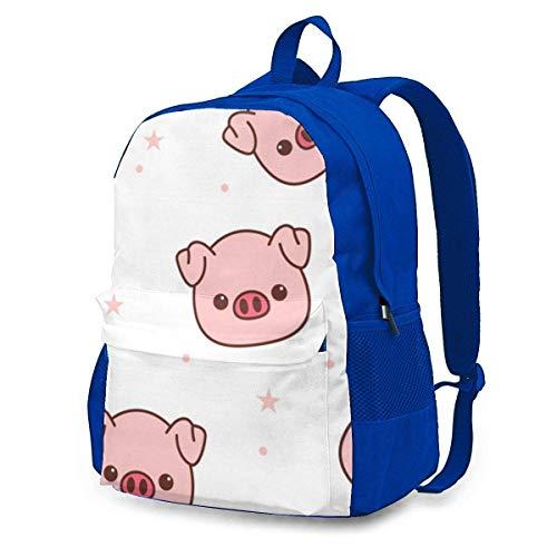 DJNGN Zaino per maiale simpatico cartone animato, zaino per adulti, zaino con stampa, custodia, borsa per il tempo libero, borse da viaggio per uomo donna