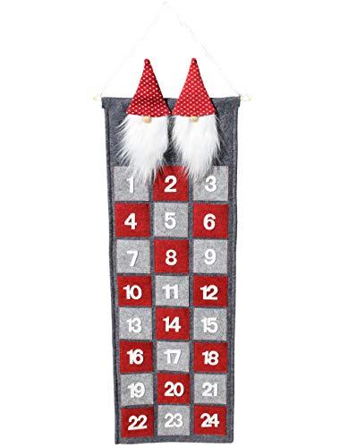 CREOFANT Calendario de Adviento para Rellenar - Calendario de Adviento con Figuras de gnomos - Calendario de Adviento para Colgar - Calendario de Navidad de Fieltro