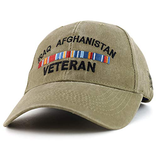 Armycrew Iraq Afghanistan War Ribbon Veteran Embroidered Structured Baseball Cap - Khaki