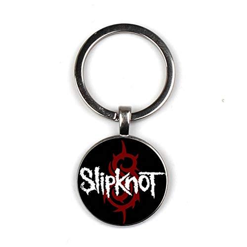 MINTUAN Collar Slipknot Glass Llavero Slipknot Rock Band Llavero de Vi