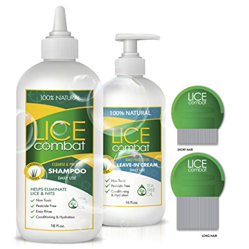 Lice Treatment Kit | Shampoo, Repellent Leave-in Cream & Two Combs | Kills Lice, Super Lice & Nits | Repels & Prevents | Pesticide Free | 100% Natural | Tea Tree + Coconut Oil+ Aloe Vera.