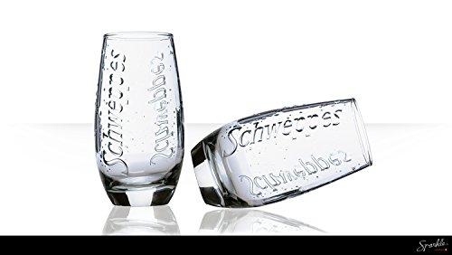 6 verres schweppes relief