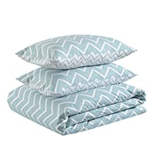 Amazon Basics - Juego de funda nórdica ligera de algodón - 260 x 220 cm / 50 x 80 cm, Cheurón bajo