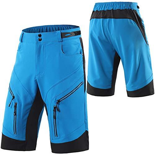 Culotte Ciclismo Hombre,Transpirable Cómodo Pantalones Cortos de Ciclismo,Primavera y Verano Culotes Ciclismo Hombre, para Correr Deportes al Aire Libre Pantalon Corto Montañ(Size:S,Color:Azul)