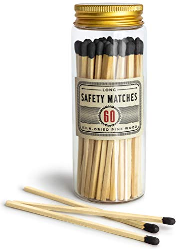 Premium Long Matches for Candles, Decorative Matches in Apothecary Glass Jar, Colorful Matches Long Wooden, Safety Matches, Wooden Matches, Long Stick Matches, Black | Set of 60 Matchsticks