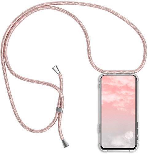 Herbests Kompatibel mit Huawei P Smart 2018 Handykette Hülle mit Umhängeband Durchsichtig Necklace Hülle mit Kordel zum Umhängen Schutzhülle Silikon Handyhülle Kordel Schnur Case,Rose Gold