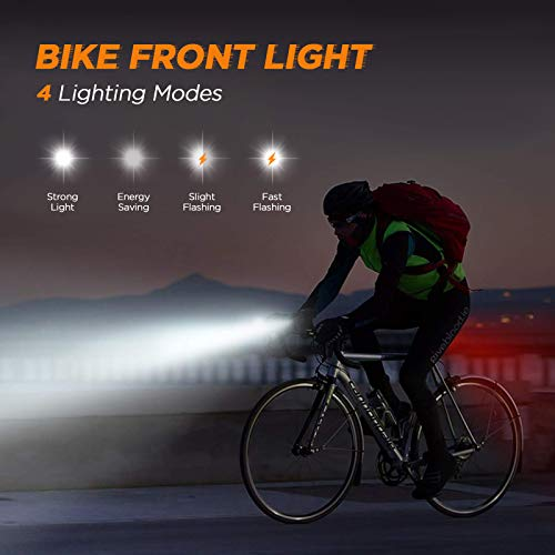 Balhvit 400 Lumen Bike Lights Set, 9H Runtime Bike Lights Front and Back USB Rechargeable, LED Mountain Bicycle Light, IPX5 Waterproof Road Cycling Lights Headlight With 4+6 Modes