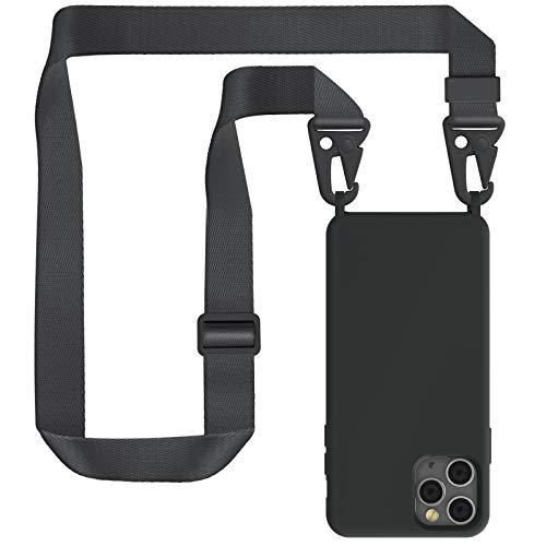 ZhinkArts Handykette kompatibel mit Apple iPhone 11 Pro - 5,8' Display - Smartphone Necklace Hülle mit Band - Handyhülle Silikon Case mit Kette zum umhängen in Schwarz Modular