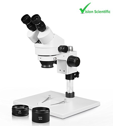Vision Scientific VS-1AEZ Binocular Zoom Stereo Microscope, 10x WF Eyepiece, 0.7X—4.5X Zoom, 3.5X—90x Magnification, 0.5X & 2X Auxiliary Lens, Pillar Stand with Large Base