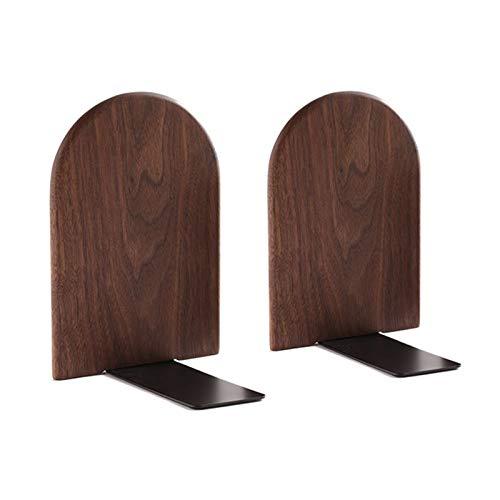 Heiqlay Sujetalibros de madera, aguanta libros, Sujetalibros de nogal negro Soporte para estantes, 17x13 cm Sujetalibros antideslizantes Organizador Soporte de almacenamiento(redondo)