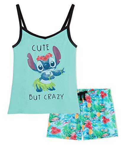 Disney Pijama Niña Stitch, Pijamas Niña Cortos, Conjunto de Camiseta Tirantes y Shorts, Regalos para Niñas Edad 5-14 Años (Hellblau, 13-14 Jahren)