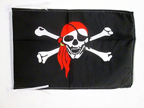 AZ FLAG Flagge Pirat ROTES Halstuch 45x30cm mit Kordel - Piraten Totenkopf Fahne 30 x 45 cm - flaggen Top Qualität