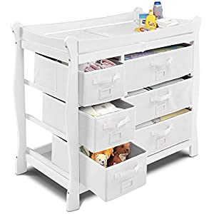 Costzon Baby Changing Table Infant Diaper Nursery Station w/6 Basket Storage Drawers