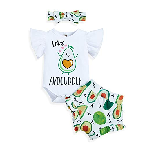 Newborn Baby Girls Clothes Ruffles Summer Romper Floral Bottoms Shorts 3pcs Outfits(Avocado,6-12M)