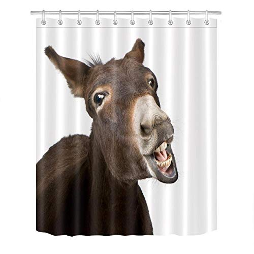N / A Cartoon Tier Esel Duschvorhang Lustige Worte Tier Rustikales Holz Brett Badezimmer Stoff Duschvorhang Sets Dekor Mit Haken-B150xH180cm