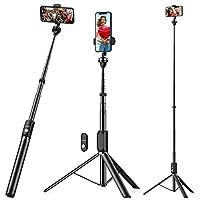 【Weite Szene Erfassen】Weite Szene Erfassen -- 1850mm extrem länge ausziehbaren Selfie Stick herausgebracht, um eine breitere Sicht zu erzielen oder ein Gruppenfoto im Stativmodus zu machen. Mit 360°drehbarer Telefonhalter können Sie den besten Selfie...