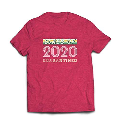 lepni.me Camisetas Hombre Regalo de la Clase de 2020 para los Estudiantes de último año de Secundaria en cuarentena (Large Brezo Rojo Multicolor)