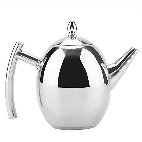 Edelstahl-Teekanne, 1000/1500 ml hochglanzpolierter Wasserkocher mit Deckel, Tee-Kaffeebehälter mit abnehmbarem Netzfilter für Loseblatt- und Teebeutel Silber(1000ML)
