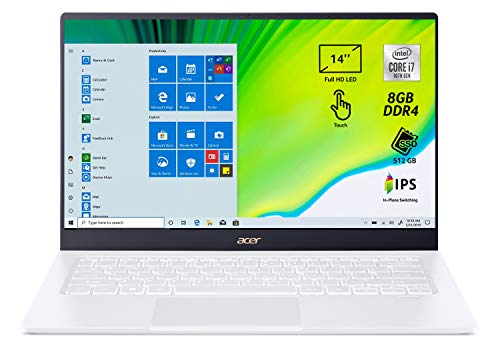 Acer Swift 5 SF514-54T-74E7 Pc Portatile, Notebook con Intel Core i7-1065G7, Ram 8 GB, 512 GB PCIe NVMe SSD, Display Multi-touch 14' FHD IPS LED LCD, Grafica Intel Iris Plus, Windows 10 Home, Bianco