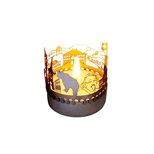 13gramm Bern-Skyline Windlicht Schattenspiel Souvenir, 3D Edelstahl Aufsatz für Kerze inkl. Karte