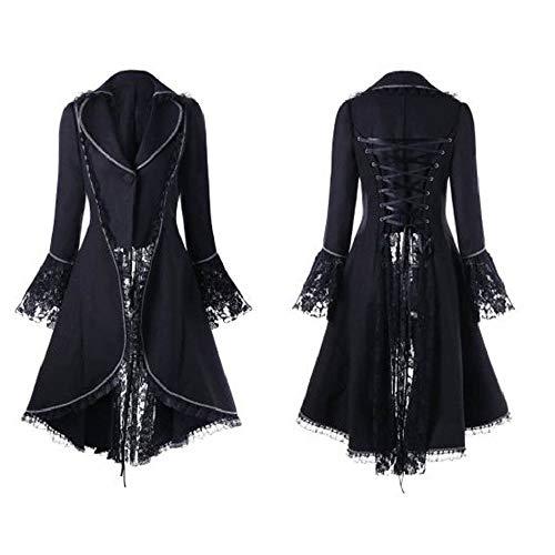 Damen Vintage Mantel Gothic Kostüme Cosplay Langarm Hoodie Pullover mit Kapuzen Lace Up Lange Kleid Umhang unregelmäßigen Saum Punk Sweatshirt Streetwear Kapuzenmantel Jacke Freizeitjacke Outwear