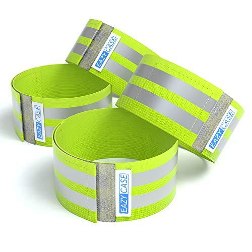 EAZY CASE 4 x Reflektorband, Reflektoren Set, reflektierendes Klettarmband, Sicherheitsarmband, Reflektorenbänder – ideal zur Erhöhung der Sichtbarkeit, Neon Gelb
