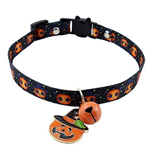 ZXZCHGN 4 PIEZAS Collares for perros de mascotas, collar de mascotas ajustables, calavera de calabaza de impresión de halloween ajustable con campanas de moda collares de estilo único gato adorable de