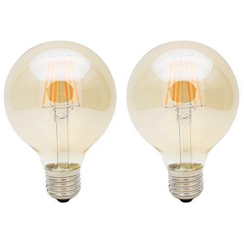 2X E27 Bombilla Edison 6W Bombillas Vintage G80 Ámbar Filament Bulb Blanco Cálido 420LM Sustitución del Incandescente LED Retro AC85-265V
