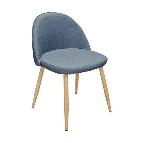 Zons silla sala a comedor escandinavo azul gris con patas de metal, 44,5x 49x H75cm