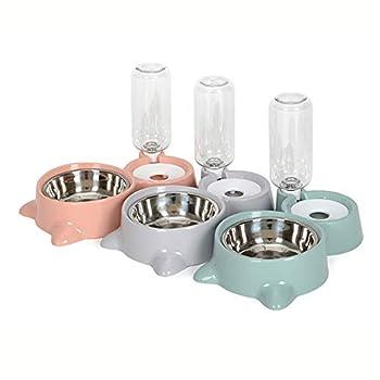 XIUHU 3,8L Distributeur De Nourriture Eau Fontaine Automatique, croquettes pour Chien, Chat (Gris)
