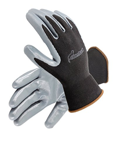 Galeton 6840-L 6840 Otterback Nitrile Coated Palm Knit Nylon Gloves, Large,Black, Gray (Pack of 12)