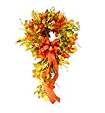 BUANFUA Corona de flores de Navidad guirnalda de otoño puerta colgante corona de puerta con corona de festival para puerta delantera, boda, pared, decoración del hogar