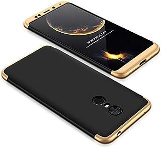 Xiaomi Redmi 5 Plus Case, fashion ultra Slim Gkk 360 Full Protection Cover Case - Black & Gold