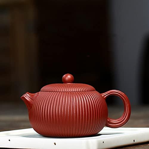Tetera clásica de Yixing, tetera de filtro a rayas de arcilla púrpura, hervidor de belleza, mineral crudo, utensilios de té hechos a mano, regalos, 160 ml