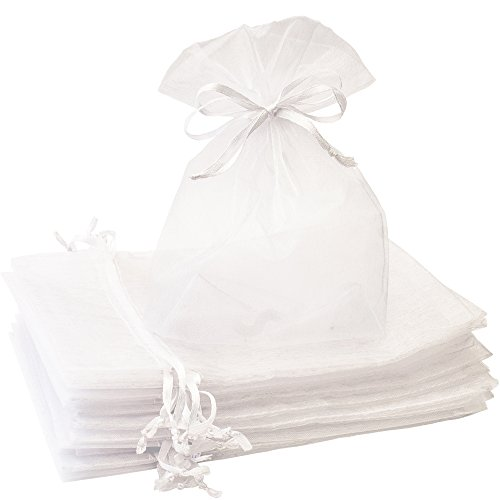 Organza Bags - 100 Pcs 5'' x 7'' White Sheer Drawstring Gift Bags - Perfect For Weddings, Party Favors, Candy Or Jewelry Pouches By Creative Organza