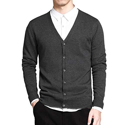 Sweater Men V Neck Solid Slim Fit Knitting Mens Sweaters Cardigan Male,Dark Grey XR333,M