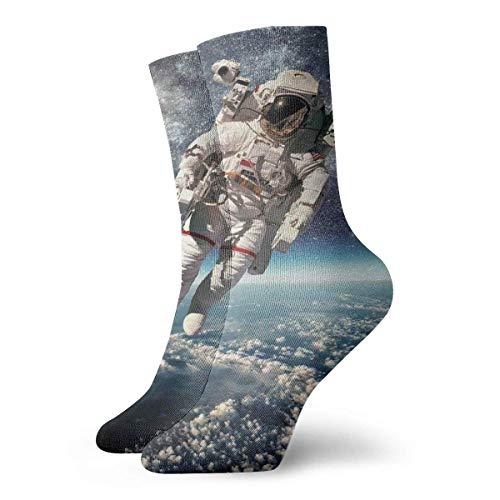Halloween und Weihnachten Sport und Mode Freizeit Astronaut schwebt Weltraum mit Planet Erde Globus Surreale Schwerkraft Bild Weltall Kunst Hausschuhe Socken für Frauen Lustige Socken 30 cm