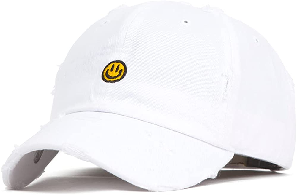 Flipper Smiley Face Emoji Unstructured Vintage Ripped Bullet Holes Stone Washed Cotton Distressed Dad Hat Baseball Cap