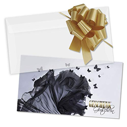 25 hochwertige Gutscheinkarten + 25 Kuverts + 25 Schleifen. Gutscheine für Mode Schneiderei Boutique Dessous Fashion. Modegutschein. FA1266
