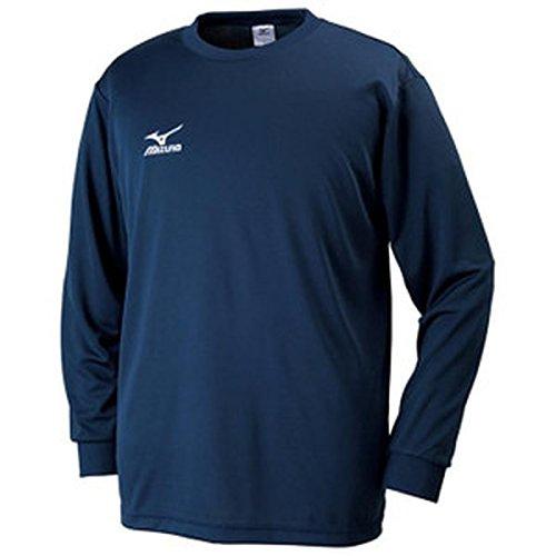 [ミズノ]  トレーニングウェア 長袖Tシャツ ナビドライ 吸汗速乾 メンズ 32JA6130 14 ドレスネイビー×ホワ...