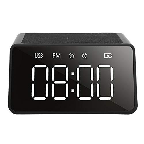 Hakeetaa Radio Sveglia da Comodino, Altoparlante Bluetooth con Ricarica Wireless, Suono della Sveglia da Tavolo da Comodino con Ricarica Wireless per Cellulare, Scheda di Supporto, Radio, Orologio