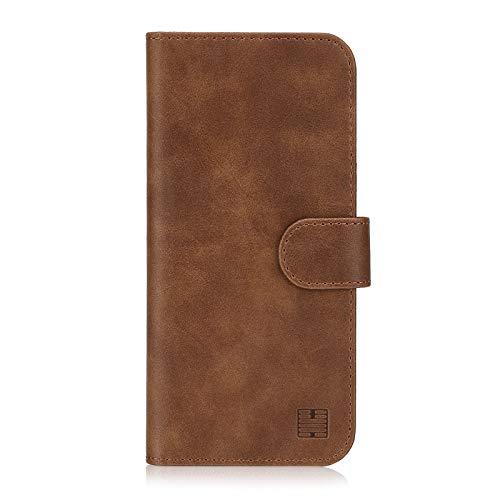 32nd Essential Series - PU Leder Mappen Hülle Flip Case Cover für Apple iPhone XR, Ledertasche hüllen mit Magnetverschluss & Kartensteckplatz – Dunkelbraun