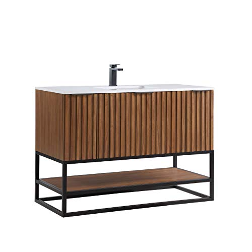 """Terra 48"""" Bathroom Vanity and Sink Set, Walnut and Matte Black with White Granite Counter Top and Ceramic Undermount Sink"""
