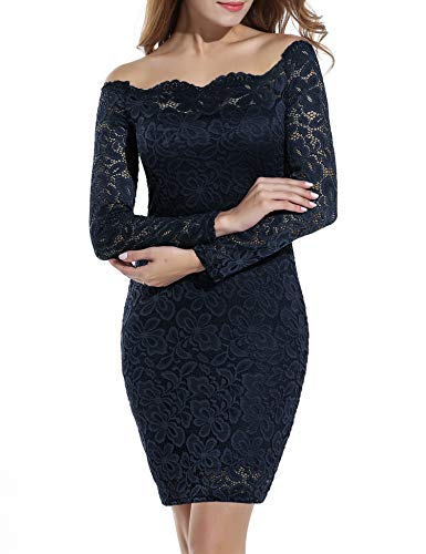 ACEVOG Lace Dresses for Women Off The Shoulder Floral Lace Bodycon Cocktail Dress (Medium, Navy Blue) (Apparel)