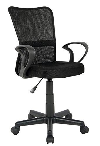 SixBros. Bürostuhl,Schreibtischstuhl, Drehstuhl für's Büro oder Kinderzimmer, stufenlos höhenverstellbar, Schreibtischstuhl für Kinder aus Stoff, schwarz,H-298F-2/2122