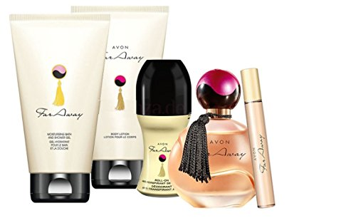 Avon Far Away Parfumset 5tlg.Eau de Parfum Spray/Duschgel/Bodylotion/Deoroller/Mini-Duftroller UVP 56 €