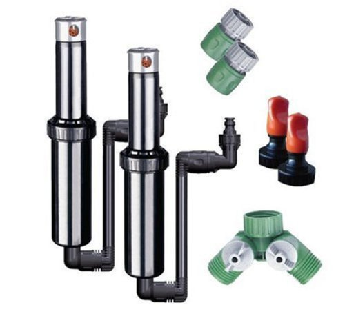 Quick-Snap In-Ground 5-Inch Pop-Up Adjustable Sprinkler 2-Pack With Quick Hose Connectors And Splitter, QSK-742